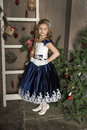 Beautiful Blond Girl Child In A Smart Dress Stock Photos - 81086153