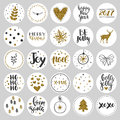 Set Of Round Christmas Stickers With Golden Glitter Stock Photos - 81090523