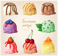 Set Of Cartoon Ice Cream Icons. Ice Cream Scoops With Different Toppings And Flavors. Vanilla With Chocolate Syrup Stock Image - 81094551