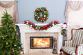Cheerful Burning Fire In The Hearth At Christmas Royalty Free Stock Image - 81099466