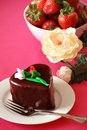 Chocolate Heart Shaped Cake And Strawberries Stock Photography - 8119792