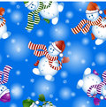 Vector Seamless Pattern On The Theme Of Winter And Christmas. Funny Cartoon Snowmen In Christmas Hats And Striped Scarf. Stock Photo - 81108070