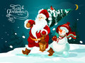 Santa And Snowman With Xmas Tree And Gifts Card Stock Photography - 81128422
