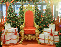 Luxurious Red Chair Santa Claus Throne Royalty Free Stock Photography - 81148647
