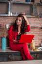 Smart Business Woman Working On Her Laptop At Home In Kitchen. Royalty Free Stock Image - 81150536