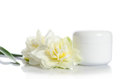 Jar Of Beauty Cream With Flowers Royalty Free Stock Image - 81152746