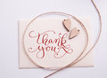 Valentines Card With Wooden Heart And Text Thank You Royalty Free Stock Photos - 81163378