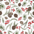 Christmas Tree Branches Seamless Pattern.Cone,berries Stock Photo - 81167460