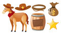 Western Cowboy Set With Horse And Elements Stock Image - 81167501