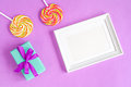 Birth Of Child - Blank Picture Frame On Purple Background Royalty Free Stock Image - 81181436