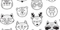 Black And White Hand Drawn Doodle Animals Seamless Pattern Stock Photography - 81196482