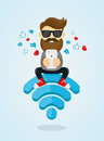 Young Men Guy Character Sitting On Wi-fi Emblem And Using Smartphone For Internet. Free Internet, Hotspot, Network Concept. Flat Royalty Free Stock Photos - 81206798