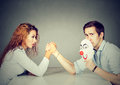 Business People Woman And Man Arm Wrestling Royalty Free Stock Photography - 81208917