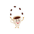 Funny Energetic Espresso Cup Character Juggling Coffee Beans Royalty Free Stock Photos - 81209838