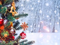 Christmas Tree Background And Christmas Decorations With Snow, Blurred, Sparking, Glowing. Happy New Year And Xmas Royalty Free Stock Photos - 81217038