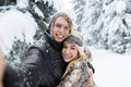 Man Taking Selfie Photo Young Romantic Couple Smile Snow Forest Outdoor Stock Photography - 81225332