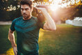 Fit Young Man Exercising With Kettlebell In Park Royalty Free Stock Image - 81226296