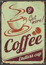 Vintage Coffee Sign On Old Metal Background Stock Photos - 81233903