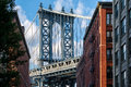 The Manhattan Bridge And A Brooklyn Street In New York Royalty Free Stock Image - 81241836