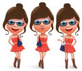 Fashion Teen Female Vector Character Holding Hand Bag Royalty Free Stock Photos - 81252428