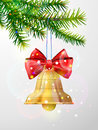 Christmas Tree Branch With Golden Jingle Bell Royalty Free Stock Photo - 81276175