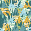 Seamless Exotic Pattern With Palm Leaves On Geometric Background Royalty Free Stock Photo - 81280505