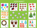 Counting Educational Children Game, Kids Activity Worksheet. How Many Objects Task, Christmas, Winter Holidays Theme Stock Photo - 81291310