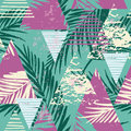 Seamless Exotic Pattern With Palm Leaves On Geometric Background Stock Image - 81291711
