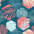 Seamless Exotic Pattern With Palm Leaves On Geometric Background Royalty Free Stock Photo - 81292105