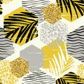 Seamless Exotic Pattern With Palm Leaves On Geometric Background Royalty Free Stock Images - 81292319