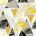 Seamless Exotic Pattern With Palm Leaves On Geometric Background Stock Image - 81292951