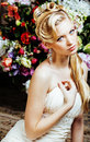 Beauty Young Bride Alone In Luxury Vintage Interior With A Lot Of Flowers Close Up Royalty Free Stock Photos - 81310978