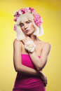 Beautiful Girl In Pink Dress With Floral Head Accessory Stock Images - 81313264