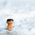 Champagne Cork In The Snow Stock Images - 81319384