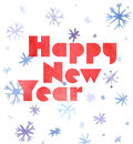 Happy New Year Watercolor Card With Snowflakes And Lettering, Cute Kawaii Retro Style Stock Photography - 81327612