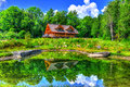 Reflection Of A Log Cabin In The Near By Pond HDR Royalty Free Stock Photos - 81332868