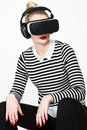 Attractive Woman Wearing Virtual Reality Goggles. VR Headset. Royalty Free Stock Photography - 81335507