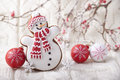 Christmas Background With Gingerbread In The Form A Snowman Stock Photo - 81339890