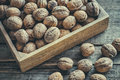 Walnuts In Wooden Box On Table, Top View. Royalty Free Stock Photo - 81344255