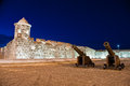 Night View Of Old Spanish Fortress Stock Image - 81351981