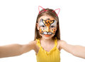 Lovely Little Girl With Painted Face Making Selfie Royalty Free Stock Photos - 81363108