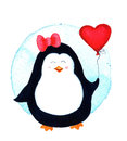 Pretty Beautiful Penguin For Babies And Little Kids. Watercolor Illustration Isolated  Royalty Free Stock Image - 81365046