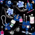 Seamless Watercolor Pattern With Various Female Accessories Stock Photography - 81365272