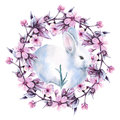 Easter Bunny With A Wreath Of Cherries. Isolated On A White Background. Watercolor Illustration. Royalty Free Stock Photos - 81366408