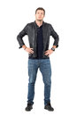 Confident Proud Casual Man Wearing Jacket And Jeans With Hands On Hips Looking At Camera Royalty Free Stock Photography - 81368967