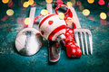 Christmas Table Place Setting With Cutlery , Holiday Decoration And Bokeh, Front View Royalty Free Stock Photos - 81370708