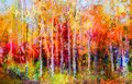Oil Painting Landscape - Colorful Autumn Trees Royalty Free Stock Photography - 81375327