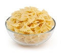 Farfalle Pasta In Glass Bowl Isolated On White Royalty Free Stock Images - 81379699