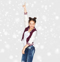 Happy Smiling Pretty Teenage Girl Dancing Royalty Free Stock Photo - 81382245