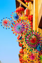 Colorful Rainbow Toy Pinwheels And Red Lantern Royalty Free Stock Photography - 8146017